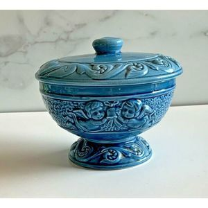 Vtg Woodpecker Products Blue Footed Pedestal Bowl